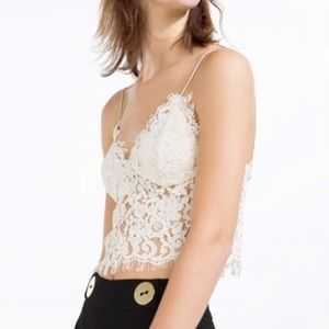 Zara White Lace Cami